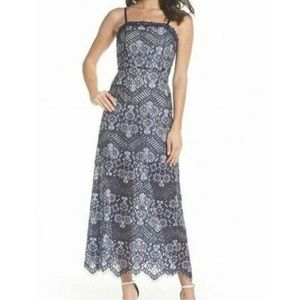 Foxiedox Anthropologie Blue Daleyza Lace Gown, L